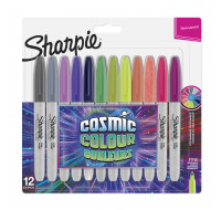 Lot de 12 marqueurs permanents Cosmic Colors - SHARPIE - Pointe fine - Assortiment de couleurs