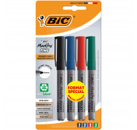 Lot de 4 marqueurs permanents 1445 - BIC - Pointe fine - 4 couleurs