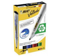 Lot de 4 marqueurs Velleda 1701 - BIC - Pointe large - 4 couleurs