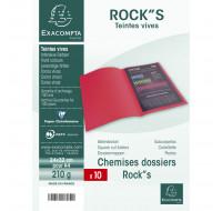 Lot de 10 chemises Rock''s - EXACOMPTA - 24 x 32 cm - Gris - 217109E