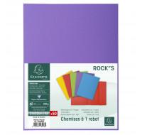 Lot de 5 paquets de 50 chemises 1 rabat Rock''s 210 - 24 x 32 cm - EXACOMPTA - Violine - 218008E