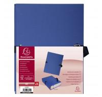 Lot de 25 chemises dos extensible papier 24 x 32 cm - filmée par 5 - EXACOMPTA - Bleu foncé - 223029E