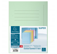 Paquet 50 chemises imprimées 3 rabats Super 210 - 24 x 32 cm - EXACOMPTA - Vert clair - 235004E