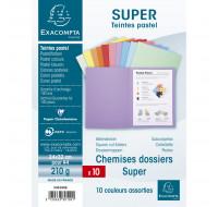 Lot de 10 chemises Super - EXACOMPTA - 24 x 32 cm - Coloris assortis - 330100E