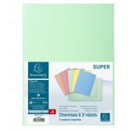 Lot de 10 paquets de 5 chemises 2 rabats Super - 24 x 32 cm - EXACOMPTA - Coloris assortis - 332100E