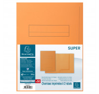 Lot de 5 paquets de 50 chemises imprimées 2 rabats Super 210 - 24 x 32 cm - EXACOMPTA - Orange - 335007E