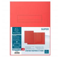 Lot de 5 paquets de 50 chemises imprimées 2 rabats Super 210 - 24 x 32 cm - EXACOMPTA - Rouge - 335008E