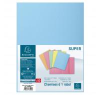 Lot de 5 paquets de 50 chemises 1 rabat Super 210 - 24 x 32 cm - EXACOMPTA - Bleu clair - 339006E