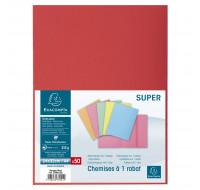 Lot de 5 paquets de 50 chemises 1 rabat Super 210 - 24 x 32 cm - EXACOMPTA - Rouge - 339012E