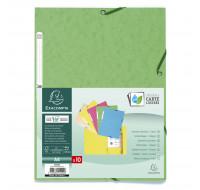 Lot de 50 chemises 3 rabats à élastiques carte lustrée 400g/m2 ® - A4 - EXACOMPTA - Couleurs assorties pastels - 55550E