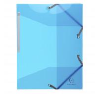 Lot de 15 chemises 3 rabats à élastiques polypropylène 5/10e Iderama pp - A4 - EXACOMPTA - Bleu clair - 55672E