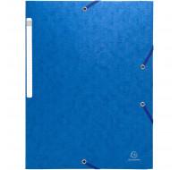 Lot de 50 chemises à élastiques sans rabat - carte lustrée gaufrée scotten 600g/m2- A4 - EXACOMPTA - Bleu - 5592E