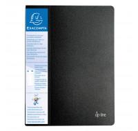 Lot de 20 protège-documents en polypropylène rigide avec porte-étiquette 3 faces up line opaque 40 vues - A4 - EXACOMPTA - Noir - 88201E