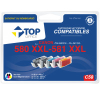 Pack de cartouches d'encre compatibles CANON : PGI580 et CL581 XXL - TOP OFFICE - Noir et couleurs