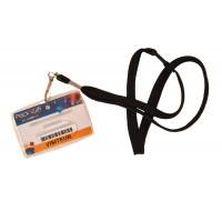Porte badge rigide avec cordon - COLOR POP - Noir