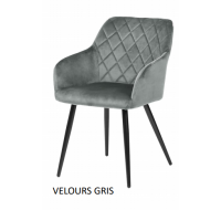 Lot de 2 chaises Beauty - Velours Gris