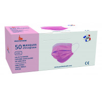 Masque chirurgical IIR haute filtration - PROD'ACTIVE 66 - 50 exemplaires - Rose