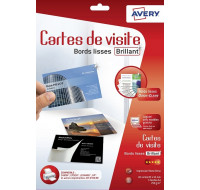 40 cartes de visite Quick&Clean - AVERY - 85x54mm - Blanc brillant