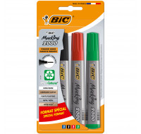 Lot de 4 marqueurs permanents Marking 2000 - BIC - Format spécial - Pointe large - 4 couleurs