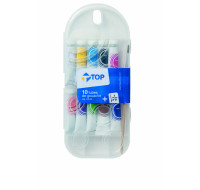 Lot de 10 tubes de gouache + pinceau - TOP OFFICE - 10 ml