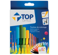 Lot de 12 Feutres - TOP OFFICE - Pointe moyenne - Assortiment de couleurs