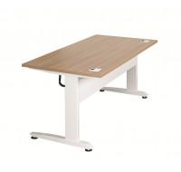Plateau pour bureau électrique assis debout - TOP OFFICE - Blanc/Merisier