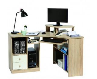 bureau d 39 angle informatique angle droite tanga blanc ch ne. Black Bedroom Furniture Sets. Home Design Ideas