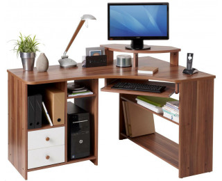 Bureau dangle informatique angle droite tanga noyer bureau