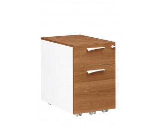 Caisson 2 tiroirs - XENON - L42 cm - Finition merisier/blanc