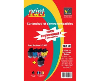 Pack économique 5 cartouches d'encre LC900 - Noir x2/ Cyan/ Magenta/ Jaune