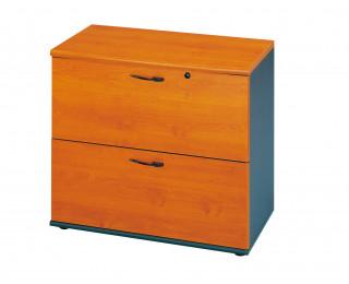 Rangement bas 2 tiroirs pour dossiers suspendus - Gamme JAZZ - Largeur 80 cm - Coloris aulne
