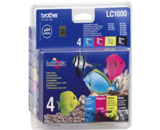 Pack 4 cartouches d'encre BROTHER LC1000 - 4 couleurs