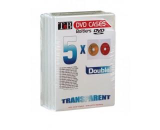 Pack de 5 boîtiers slim doubles DVD T'nB - Transparent