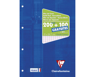 Bloc de bureau A4 - 300 pages - CLAIREFONTAINE - Grands carreaux