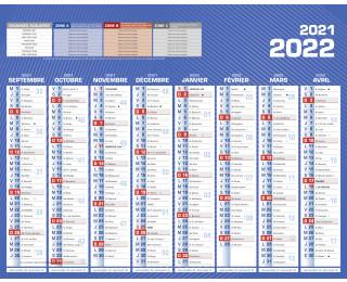 Calendrier scolaire 2021/2022 - BOUCHUT - 21 x 27 - Bleu