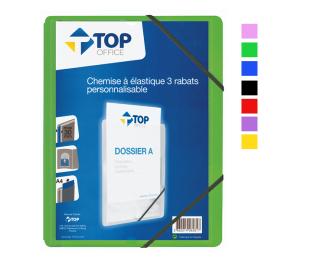 Chemise à élastique personnalisable - TOP OFFICE - 3 rabats - Format A4 - Dos 30 mm - Assortiment de couleurs
