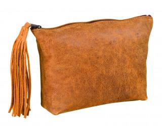 Trousse plate en cuir vintage 1 compartiment - ELBA - Camel