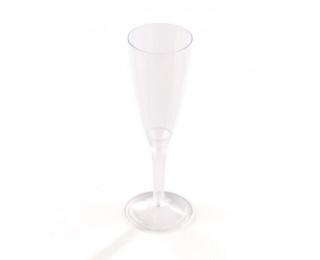 Lot de 10 flûtes à champagne en plastique écologique - PAPSTAR - 10 cl - Transparent