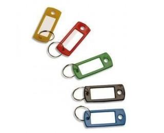 Lot de 100 porte-clés en plastique avec étiquette - SOLVEIG - Couleurs assorties