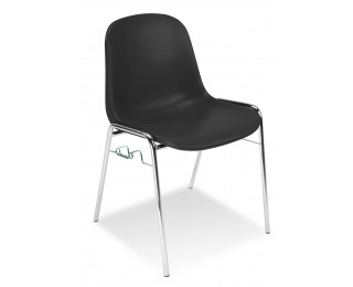 Chaise de réunion anti-feu - Coque - Noir
