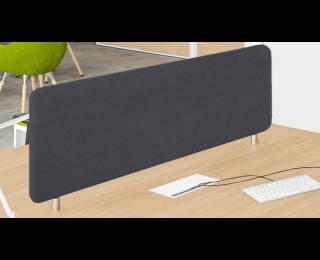 Ecran de séparation bureau simple 160 cm - WOOD - Noir - Tissu