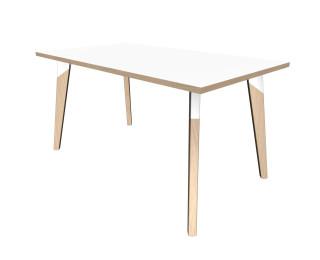 Table de réunion rectangulaire - L160 cm - EVA - Blanc/hêtre