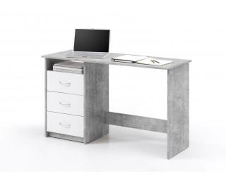Bureau droit 3 tiroirs adria gris blanc