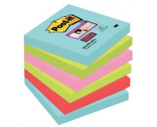 Lot de 6 blocs notes repositionnables super sticky Miami - POST IT - 90 feuilles - 76x76 mm