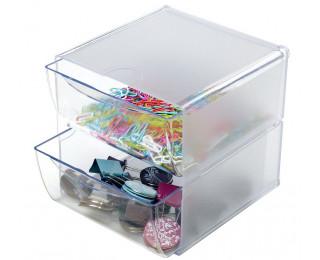 Cube rangement 2 tiroirs - DEFLECTO - Transparent
