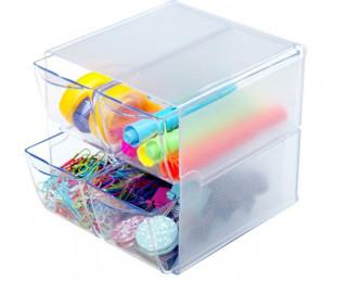 Cube rangement 4 tiroirs - DEFLECTO - Transparent