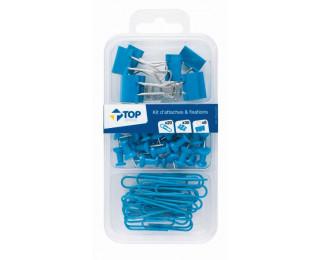 Kit de 58 Attaches - Bleu - TOP OFFICE -