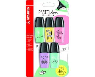 Lot de 5 surligneurs Stabilo Boss Mini Pastellove - Assortiment de couleurs
