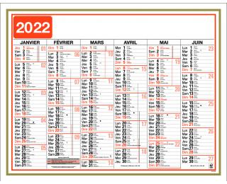 Calendrier 2020 semaine
