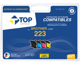 Pack de 4 cartouches jet d'encre compatibles BROTHER LC223 - TOP OFFICE - Noir et couleurs